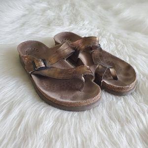 Mephisto Brown/Bronze Leather Strappy Sandals